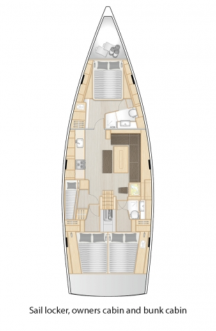 508 - Sail locker, owners cabin and bunk cabins