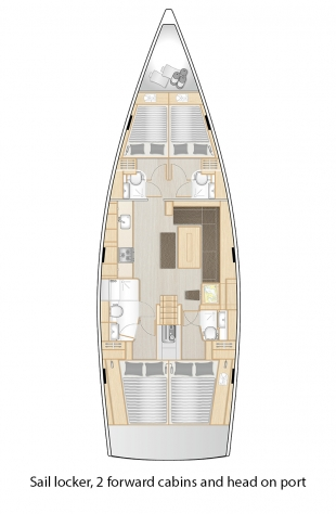 508 - Sail locker, 2 forward cabins and head on port