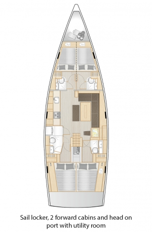 508 - Sail locker, 2 forward cabins and head on port with utility room