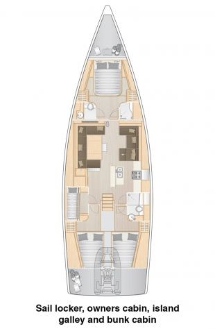 Hanse 588 - Sail locker, owners cabin, island galley, bunk cabin