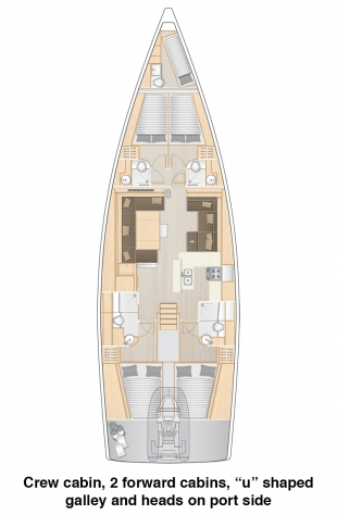 Hanse 588 - Crew Cabin, 2 Forward Cabins, U shaped galley