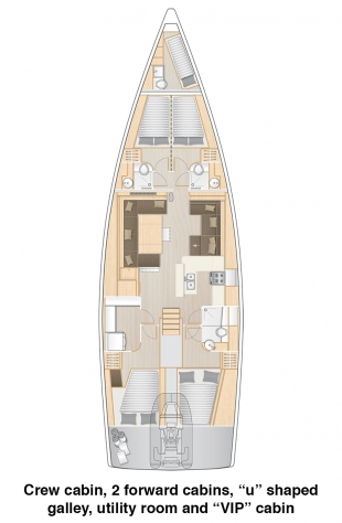 Hanse 588 - Crew Cabin, 2 Forward Cabins, U shaped galley, utility room and VIP Cabin