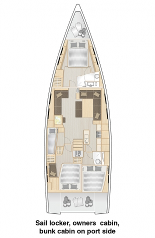 548 - Sail locker, owners cabin and bunk cabin