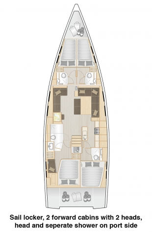 548 - Sail locker, 2 forward cabins and head with separate show