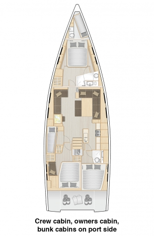 548 - Crew cabin, owners cabin and bunk cabin