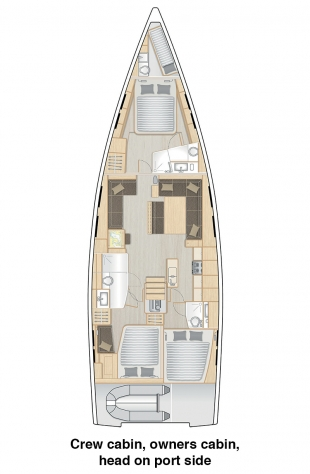 548 - Crew cabin, owners cabin and head with separate shower